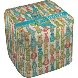 Fun Easter Bunnies Cube Pouf Ottoman (Personalized)