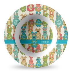 Fun Easter Bunnies Plastic Bowl - Microwave Safe - Composite Polymer (Personalized)