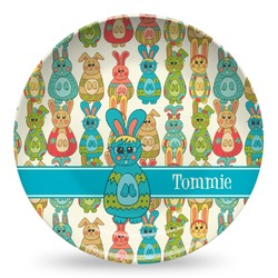 Fun Easter Bunnies Microwave Safe Plastic Plate - Composite Polymer (Personalized)