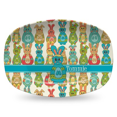 Fun Easter Bunnies Plastic Platter - Microwave & Oven Safe Composite Polymer (Personalized)