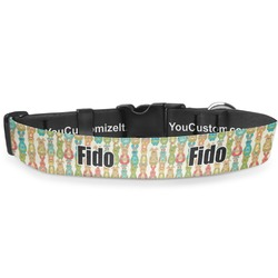 """Fun Easter Bunnies Deluxe Dog Collar - Small (8.5"""" to 12.5"""") (Personalized)"""