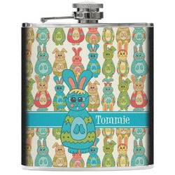 Fun Easter Bunnies Genuine Leather Flask (Personalized)