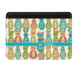 Fun Easter Bunnies Genuine Leather Front Pocket Wallet (Personalized)
