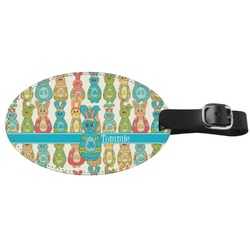 Fun Easter Bunnies Genuine Leather Oval Luggage Tag (Personalized)
