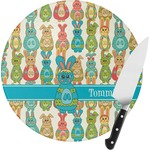 Fun Easter Bunnies Round Glass Cutting Board (Personalized)