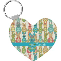 Fun Easter Bunnies Heart Keychain (Personalized)