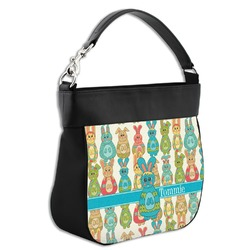 Fun Easter Bunnies Hobo Purse w/ Genuine Leather Trim (Personalized)