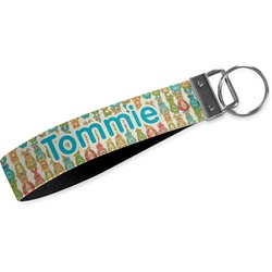 Fun Easter Bunnies Wristlet Webbing Keychain Fob (Personalized)