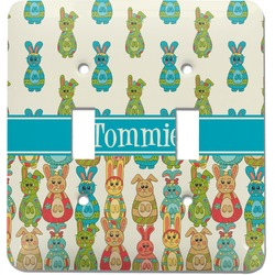 Fun Easter Bunnies Light Switch Cover (2 Toggle Plate) (Personalized)