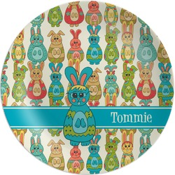 Fun Easter Bunnies Melamine Plate (Personalized)