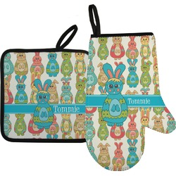 Fun Easter Bunnies Oven Mitt & Pot Holder (Personalized)