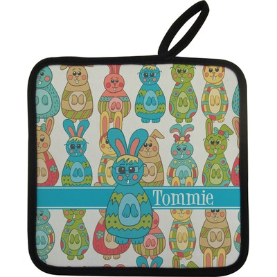 Fun Easter Bunnies Pot Holder w/ Name or Text