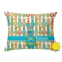 Fun Easter Bunnies Outdoor Throw Pillow (Rectangular) (Personalized)