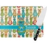 Fun Easter Bunnies Rectangular Glass Cutting Board (Personalized)