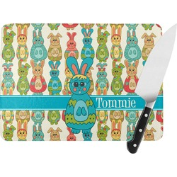 Fun Easter Bunnies Rectangular Glass Cutting Board (Personalized)