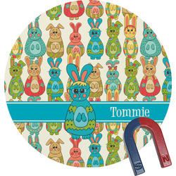 Fun Easter Bunnies Round Magnet (Personalized)