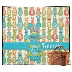 Fun Easter Bunnies Outdoor Picnic Blanket (Personalized)