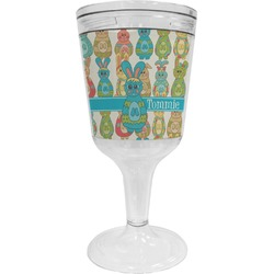 Fun Easter Bunnies Wine Tumbler - 11 oz Plastic (Personalized)