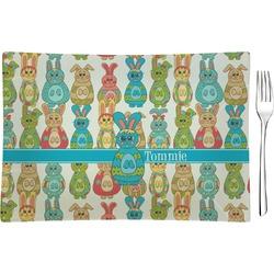Fun Easter Bunnies Glass Rectangular Appetizer / Dessert Plate - Single or Set (Personalized)