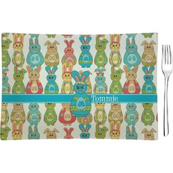 Fun Easter Bunnies Rectangular Glass Appetizer / Dessert Plate - Single or Set (Personalized)