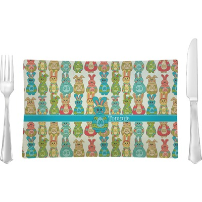 Fun Easter Bunnies Rectangular Glass Lunch / Dinner Plate - Single or Set (Personalized)