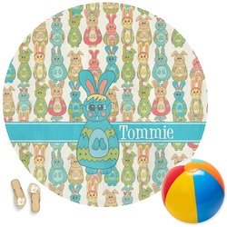 Fun Easter Bunnies Round Beach Towel (Personalized)