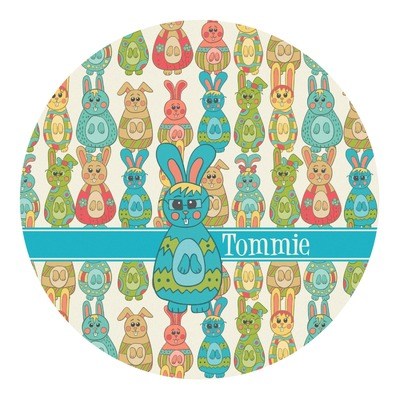 Fun Easter Bunnies Round Decal (Personalized)