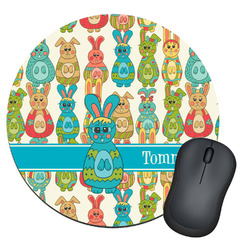 Fun Easter Bunnies Round Mouse Pad (Personalized)