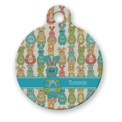 Fun Easter Bunnies Round Pet Tag (Personalized)
