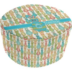 Fun Easter Bunnies Round Pouf Ottoman (Personalized)