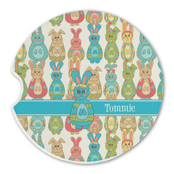 Fun Easter Bunnies Sandstone Car Coasters (Personalized)