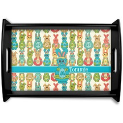Fun Easter Bunnies Black Wooden Tray (Personalized)