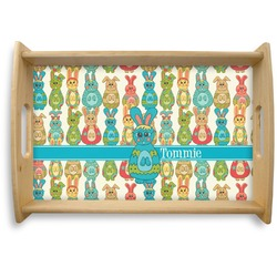 Fun Easter Bunnies Natural Wooden Tray (Personalized)
