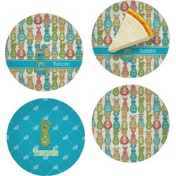 Fun Easter Bunnies Set of Appetizer / Dessert Plates (Personalized)