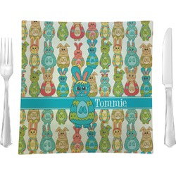 """Fun Easter Bunnies 9.5"""" Glass Square Lunch / Dinner Plate- Single or Set of 4 (Personalized)"""