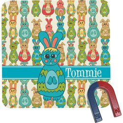 Fun Easter Bunnies Square Fridge Magnet (Personalized)