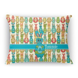 Fun Easter Bunnies Rectangular Throw Pillow Case (Personalized)