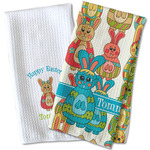 Fun Easter Bunnies Waffle Weave Kitchen Towel (Personalized)