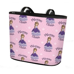 Custom Princess Bucket Tote w/ Genuine Leather Trim (Personalized)