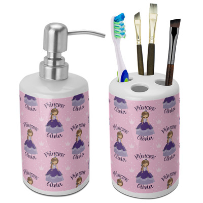 Custom Princess Bathroom Accessories Set (Ceramic) (Personalized)