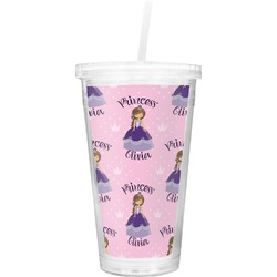 Custom Princess Double Wall Tumbler with Straw (Personalized)