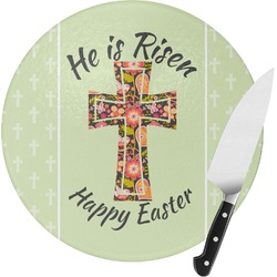 Easter Cross Round Glass Cutting Board - Small