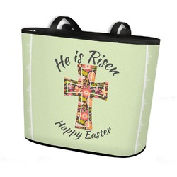 Easter Cross Bucket Tote w/ Genuine Leather Trim