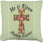 Easter Cross Faux-Linen Throw Pillow