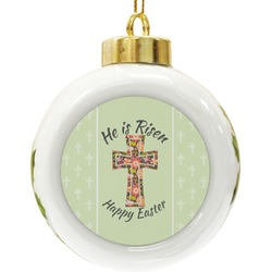 Easter Cross Ceramic Ball Ornament