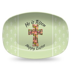 Easter Cross Plastic Platter - Microwave & Oven Safe Composite Polymer