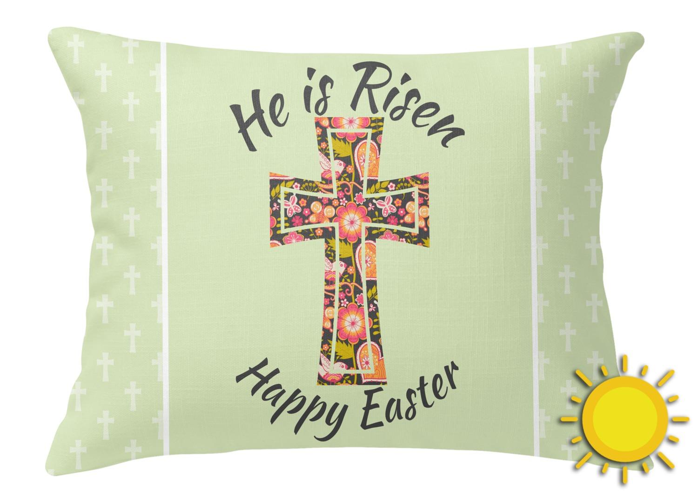 Easter Cross Outdoor Throw Pillow (Rectangular) - YouCustomizeIt