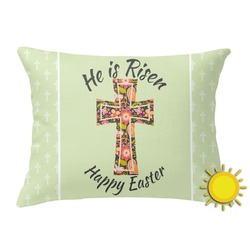 Easter Cross Outdoor Throw Pillow (Rectangular)
