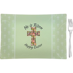 Easter Cross Rectangular Glass Appetizer / Dessert Plate - Single or Set