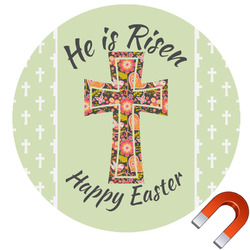 Easter Cross Round Car Magnet